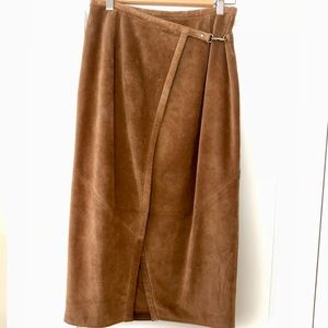 Banana Republic 100% Suede Leather Wrap Skirt
